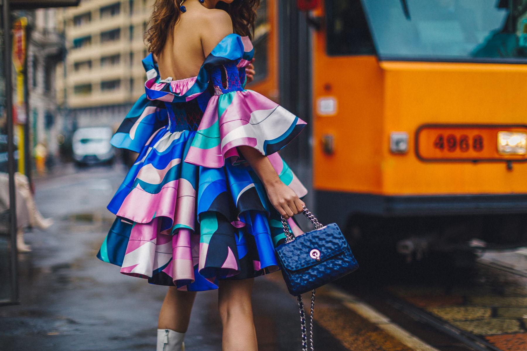MFW Recap - Emilio Pucci Look, MFW Street Style, Emilio Pucci Dress, Colorful Ruffle dress, Fashion Week Street Style // Notjessfashion.com