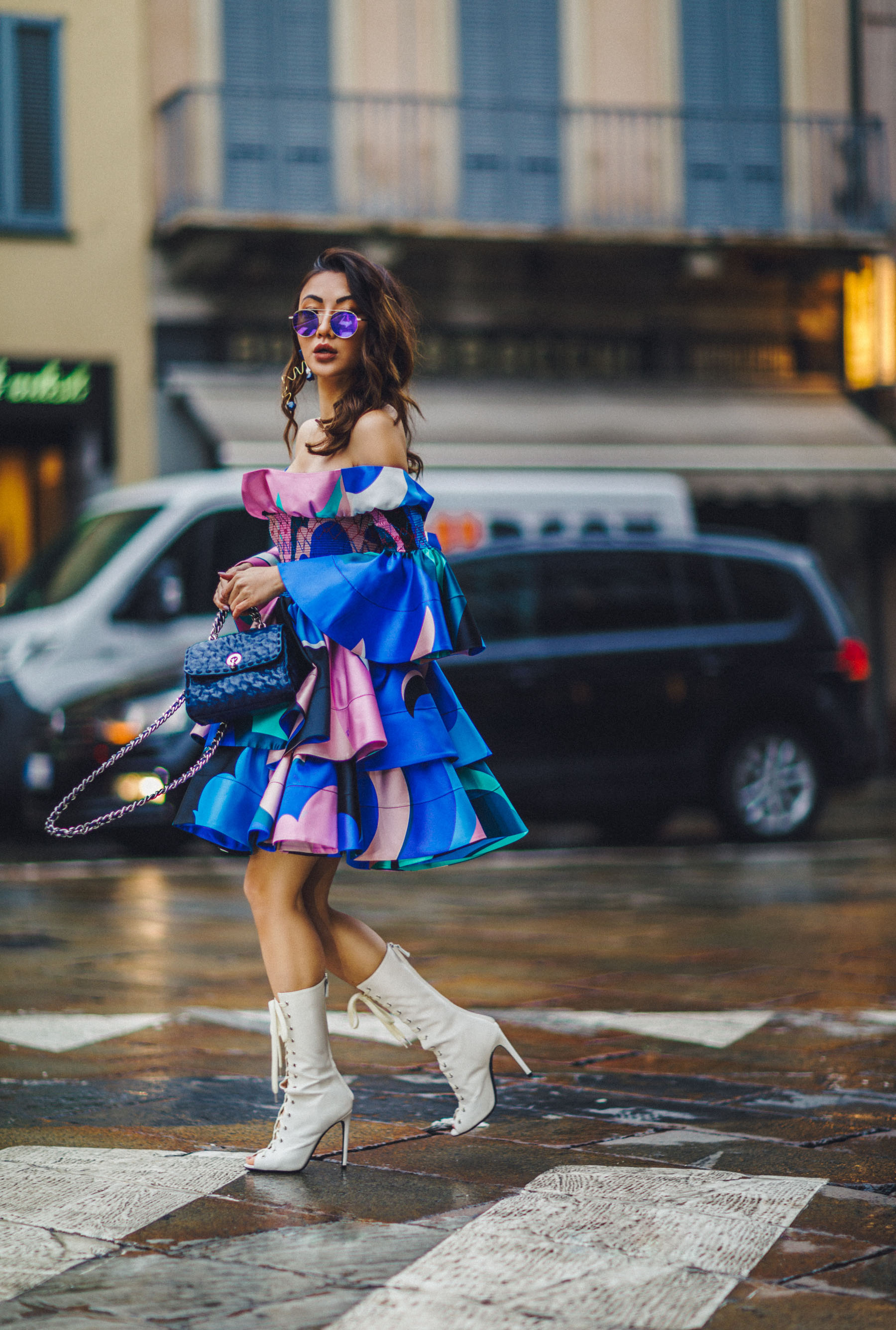 MFW Recap - Emilio Pucci Look, MFW Street Style, Emilio Pucci Dress, White Lace Up Heels // Notjessfashion.com