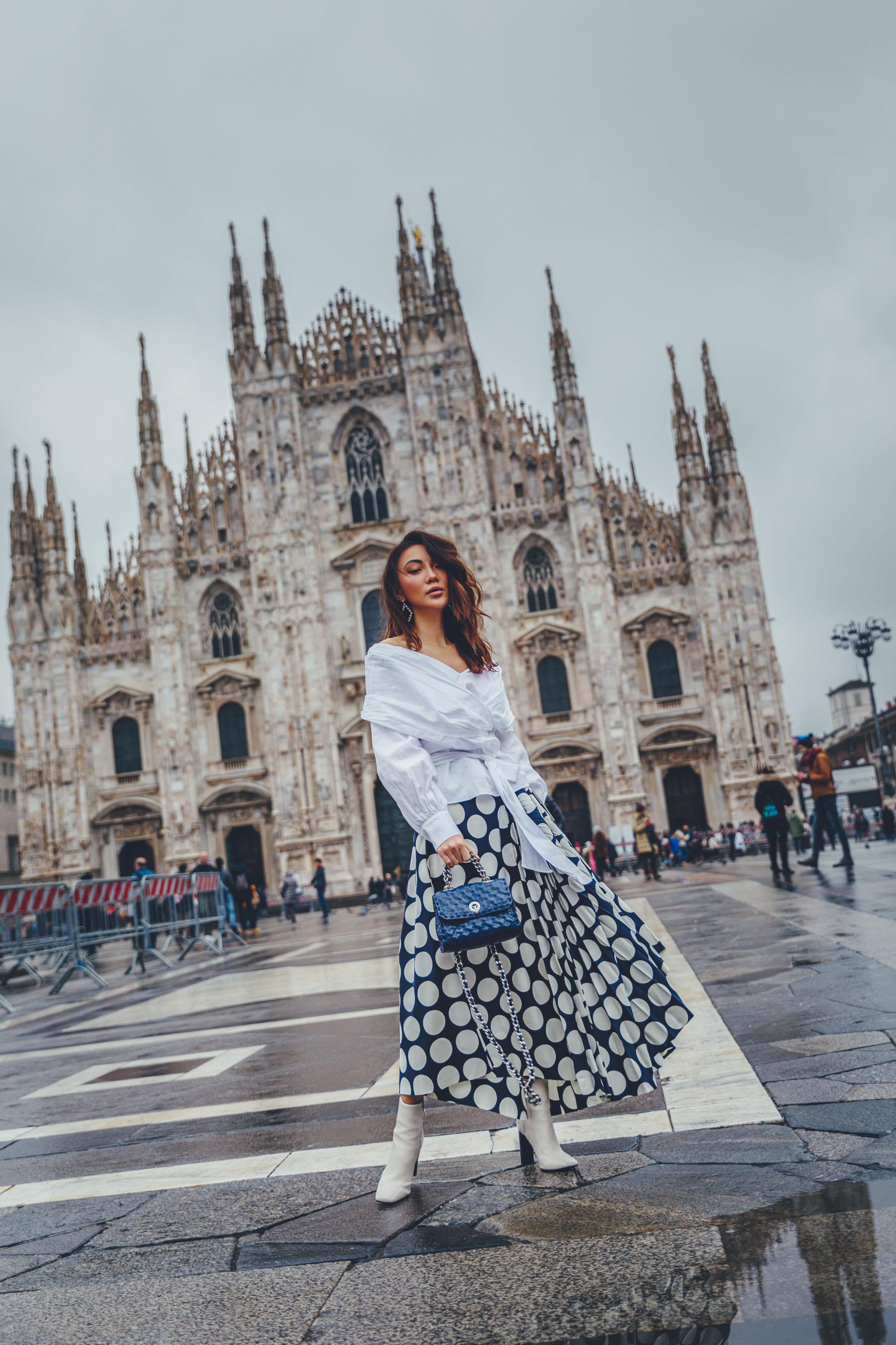 MFW Recap - polka dot skirt with wrap top, MFW Street Style, fashion week street style // Notjessfashion.com