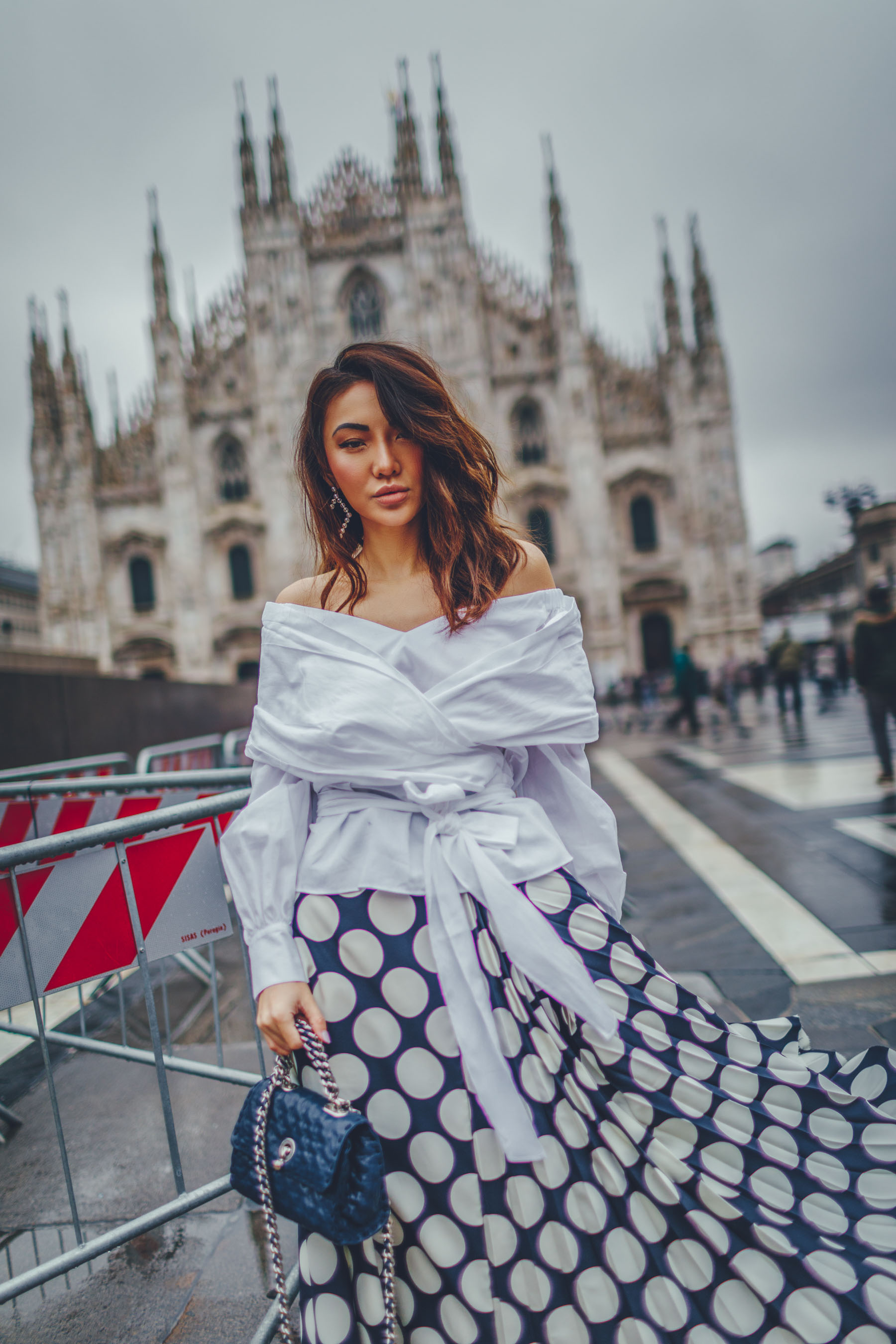 2018 Fashion Trends - polka dot skirt, white wrap top // Notjessfashion.com