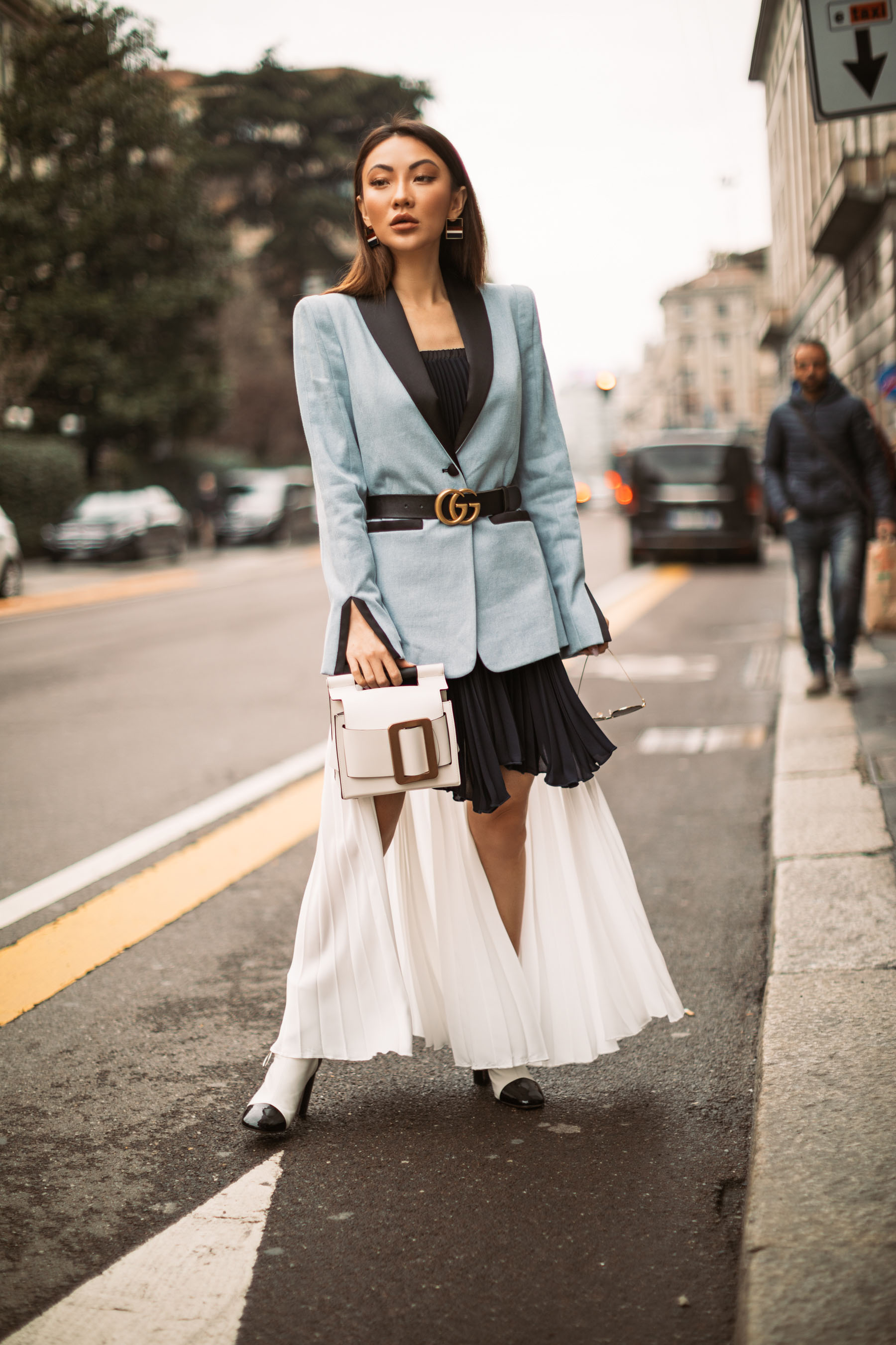 Milan Fashion Week - Jessica Wang Street Style, Blue Tuxedo Jacket, Gucci Belt Outfit, MFW Street Style // Notjessfashion.com
