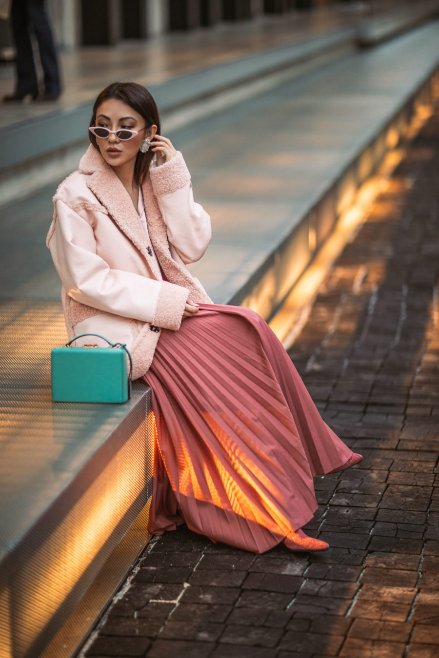 Jessica Wang wearing a pink monochromatic outfit while sharing her favorite fall and winter coats // Jessica Wang - Notjessfashion.com