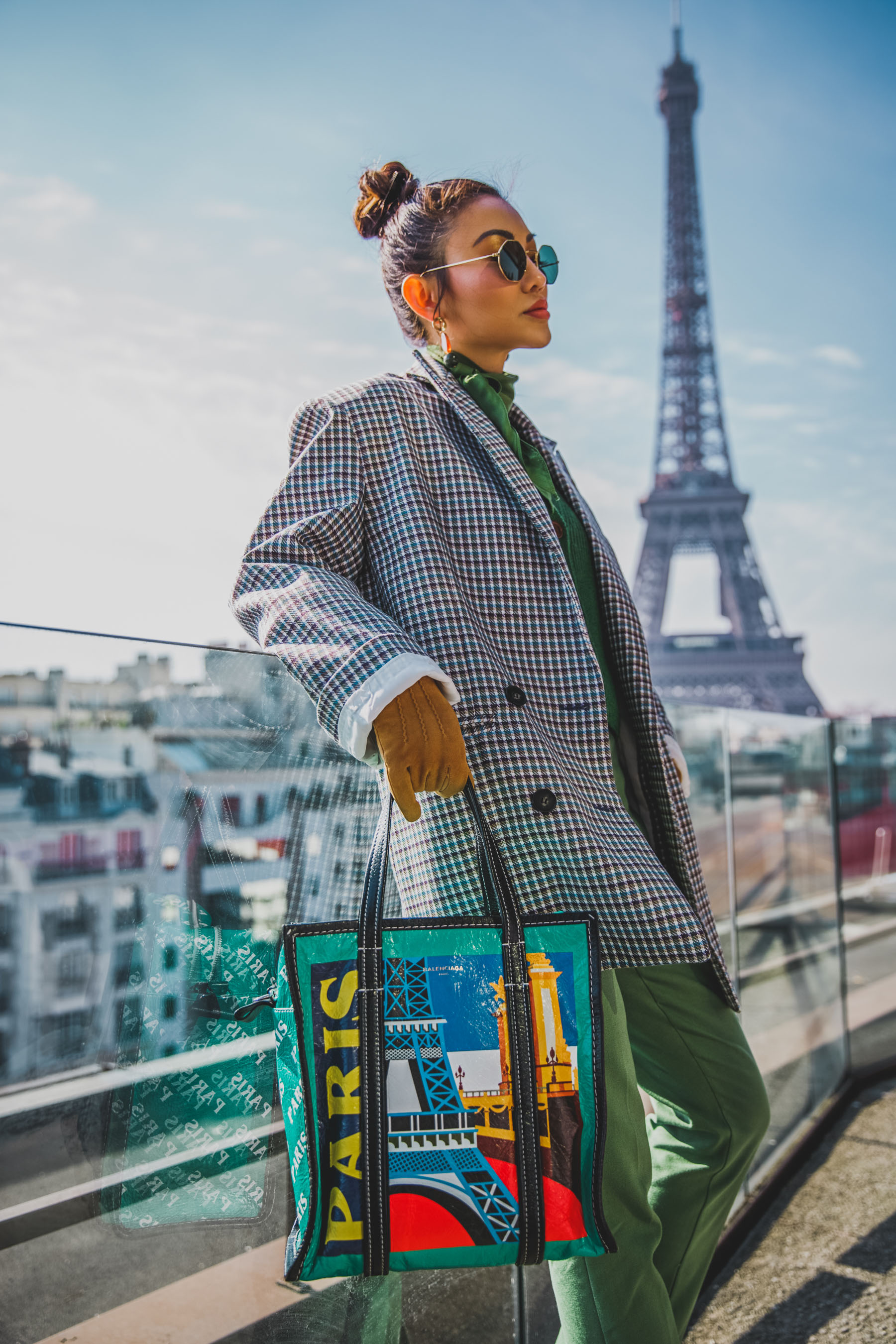 2018 handbag trend - balenciaga paris shopper tote, mytheresa bags, pfw street style, green pants with plaid blazer // Notjessfashion.com