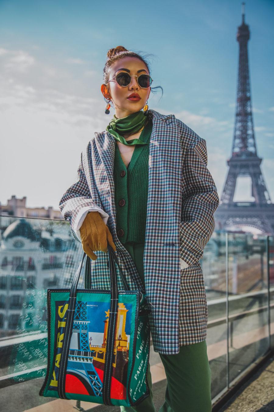 on-trend fall outfits, cozy chic outfits - boxy blazer, balenciaga leather shopper bag, plaid blazer, green silk scarf, green cardigan, green pants // Jessica Wang - Notjessfashion.com