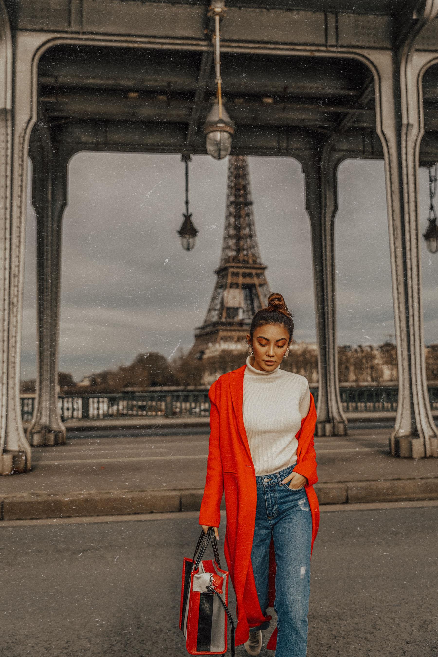 Winter Trends You Can Still Wear In Spring - Bright red coat, cuffed jeans, balenciaga bazar shopper, jessica wang in paris, pfw street style, fashion blogger in paris // Notjessfashion.com