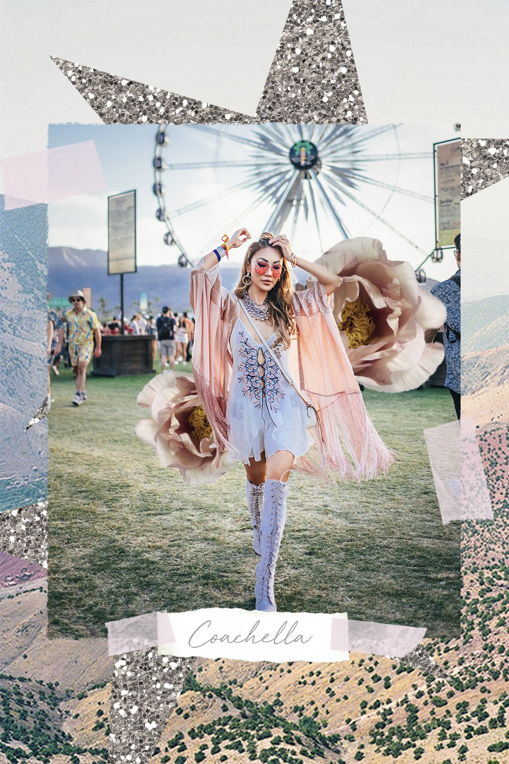 Cool Coachella Outfit Ideas - Coachella Collage, Fringe Kimono, Embroidered Dress // Notjessfashion.com