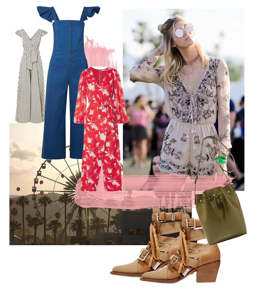 Cool Coachella Outfit Ideas - Coachella Collage, Jumpsuit for Coachella, Bohemian Style // Notjessfashion.com
