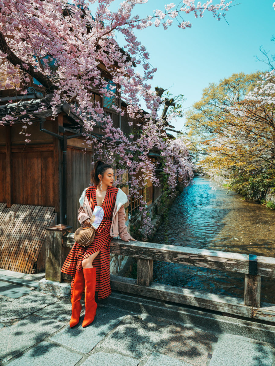 Red Bold Stripe Dress, Kyoto Cherry Blossoms // NotJessFashion.com