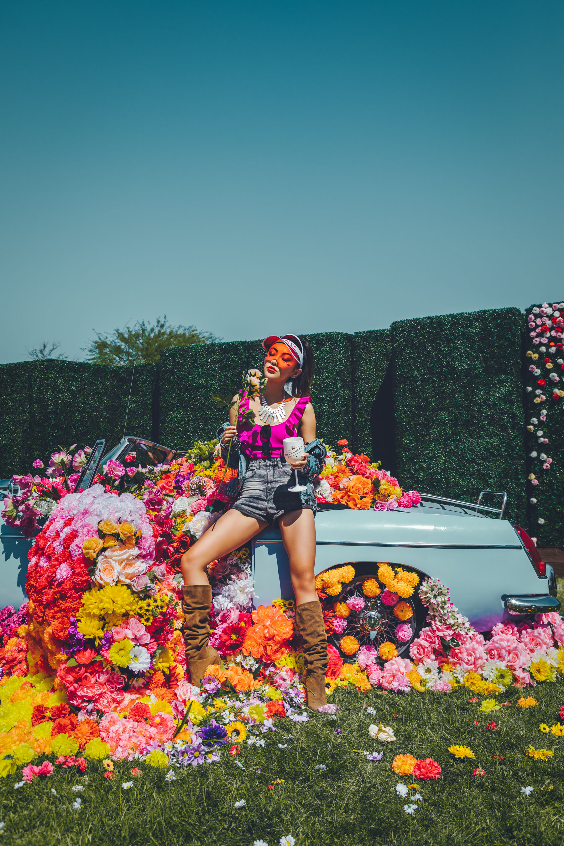 Bold Festival Style - Coachella Outfits Round Up, bright pink bathing suit, stuart weitzman brown suede boots // Notjessfashion.com
