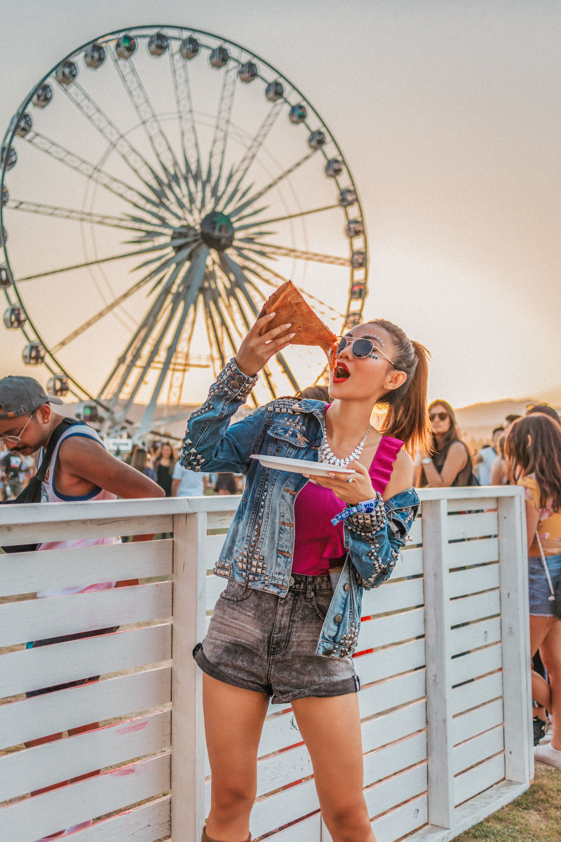 Bold Festival Style - Coachella Outfits Round Up, bright pink bathing suit, stuart weitzman brown suede boots, one teaspoon studded denim jacket // Notjessfashion.com