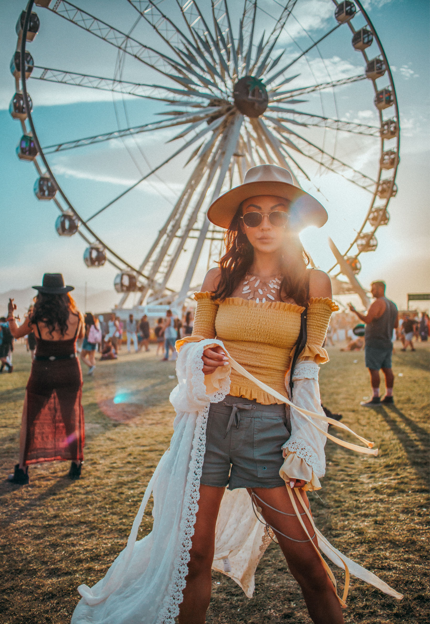 Bold Festival Style - Coachella Outfits Round Up, yellow smocked top, white crochet robe // Notjessfashion.com