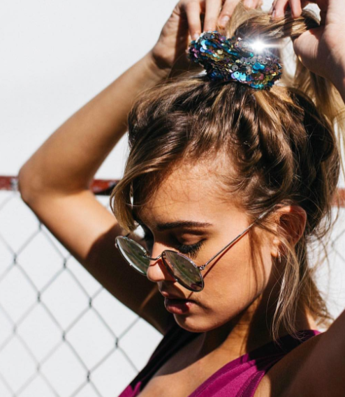 6 Easy Festival-Ready Hairstyles For Every Length - Festival Hair Inspirations, Coachella Hairstyles, Easy Music Festival Hair, Hair Scrunchies Hairstyle, Festival Hair Trends, Half-Bun Hairstyles Coachella, Jessica Wang // NotJessFashion.com