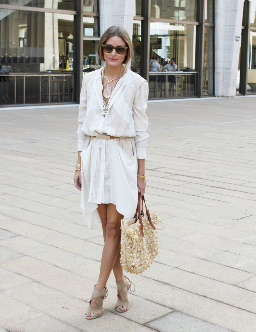 Stylish but Office Friendly Summer Outfit Ideas - white summer outfits, white dresses, olivia palermo style // Notjessfashion.com