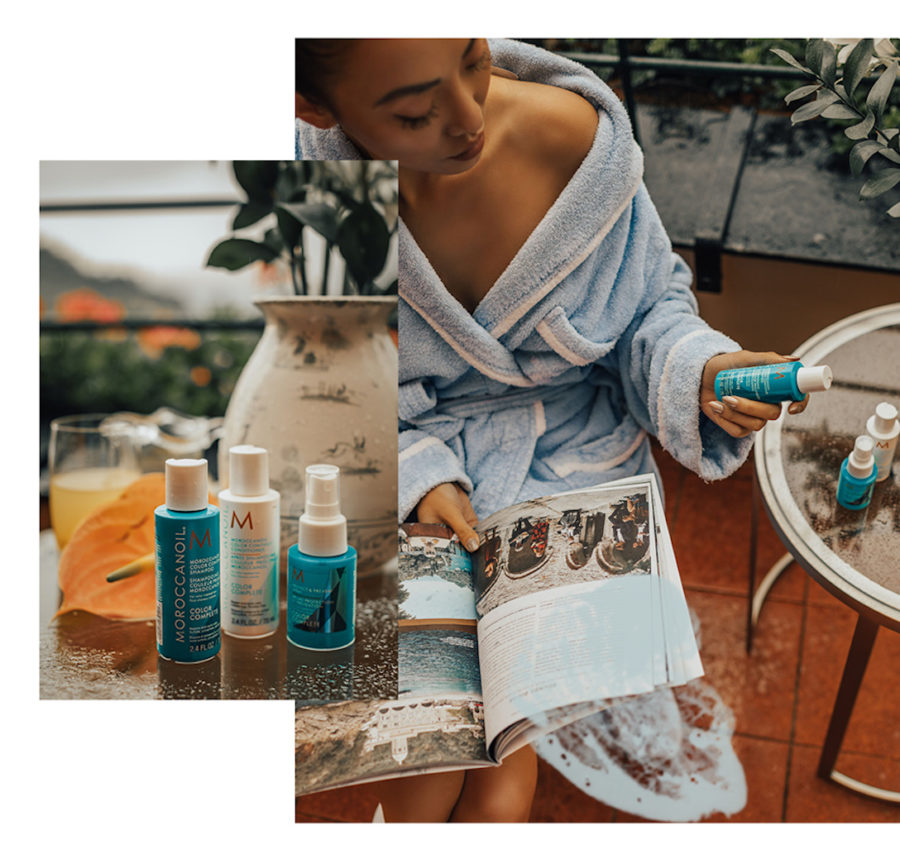 How to Maintain Your Hair When Traveling - travel hair care tips, colored hair care tips, moroccanoil color complete // Notjessfashion.com
