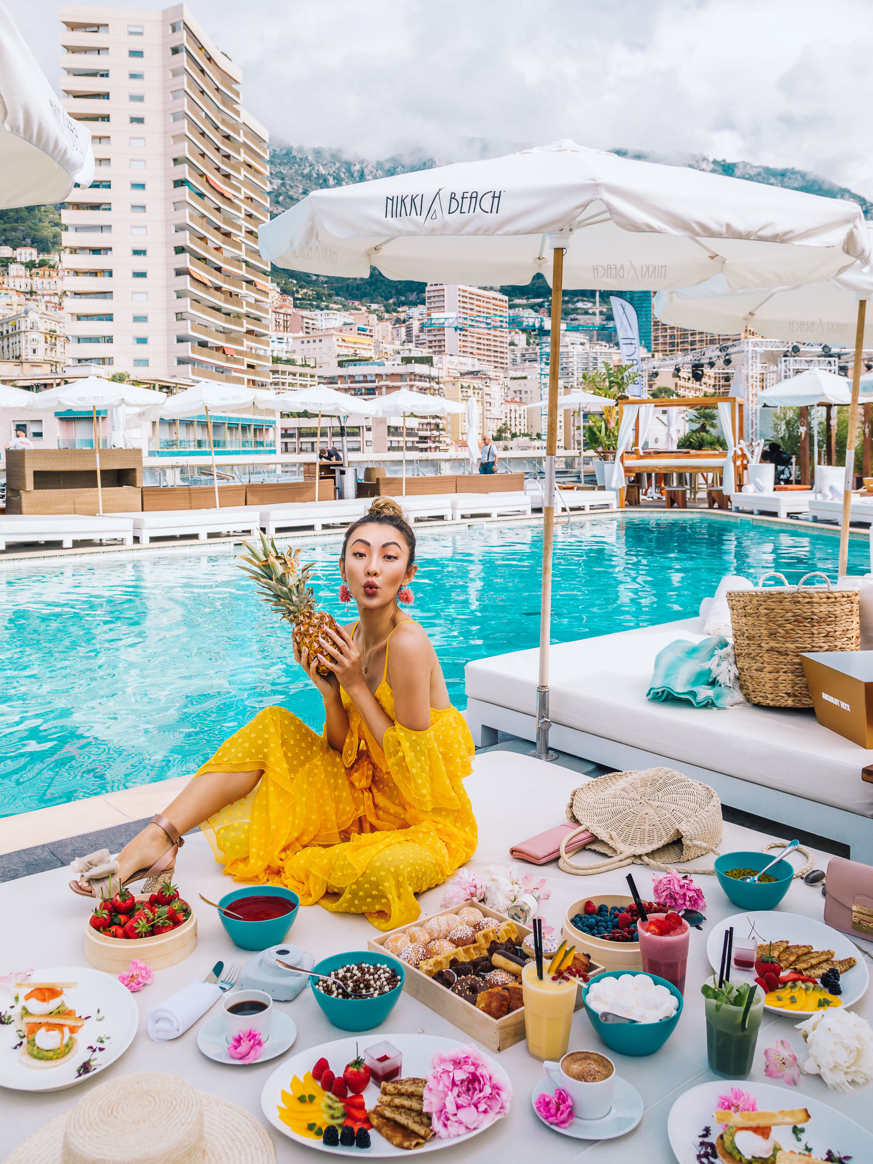 Travel in Style - Chic travel outfits, yellow lace jumpsuit, off the shoulder jumpsuit, alice mccall jumpsuit, summer travel outfits // Notjessfashion.com