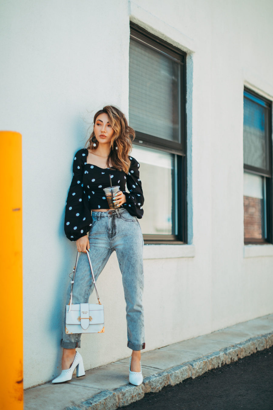 winter sales worth shopping featuring polka dot top and denim // Notjessfashion.com