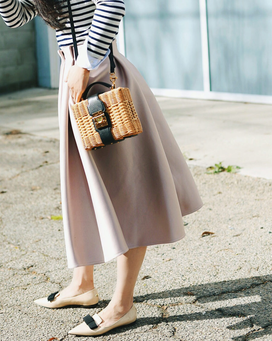 Summer Handbag Styles to Elevate Your Look - Straw Handbag, Midi Skirt, Pointed Flats // Notjessfashion.com