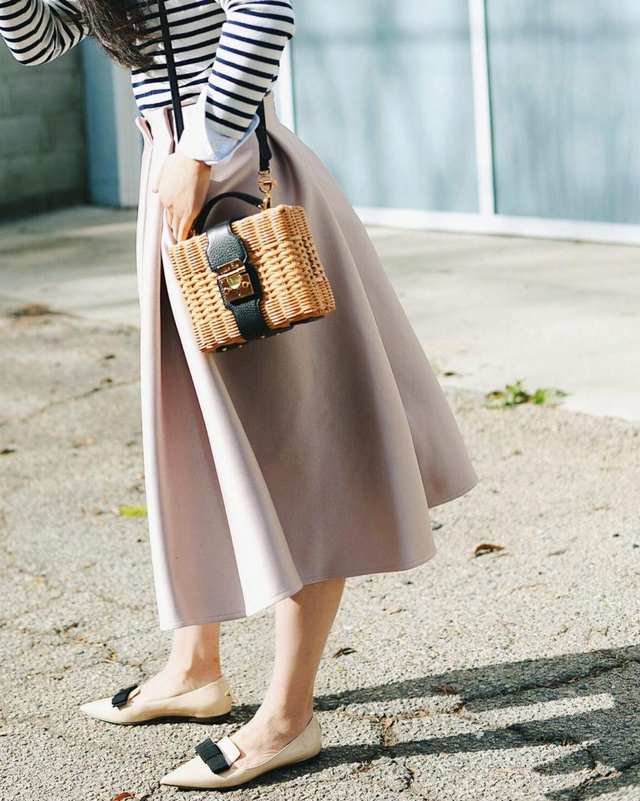 Summer Handbag Styles to Elevate Your Look - Straw Handbag, Midi Skirt, Pointed Flats // Notjessfashion.com