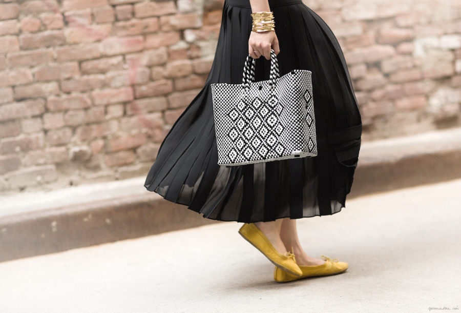 Summer Handbag Styles to Elevate Your Look - Woven Handbag, Black Maxi Skirt, Yellow Flats // Notjessfashion.com