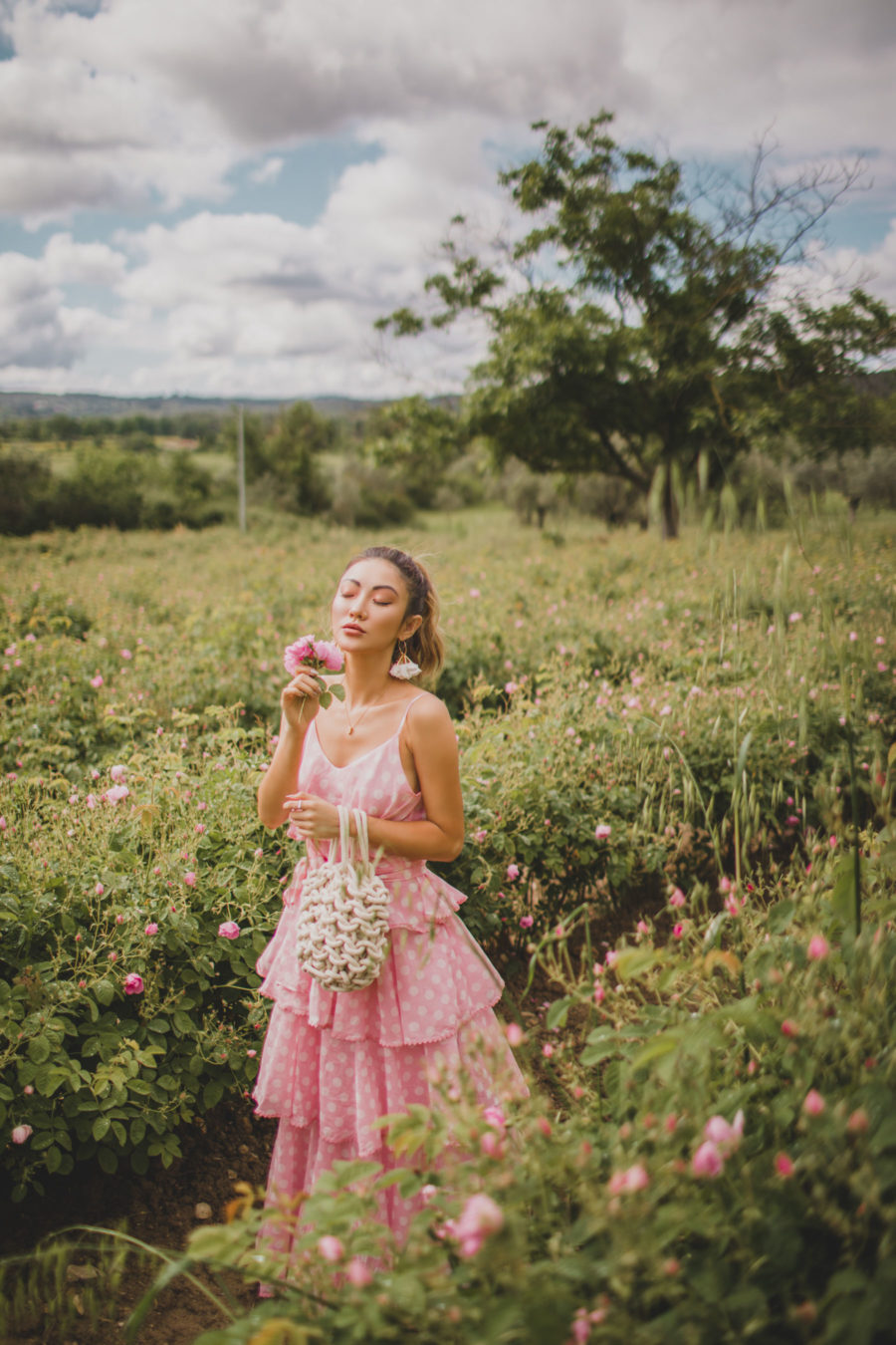 How to Conduct Mid-Year Refresh For Your Blog - Le Labo Rose Field in Grasse, Summer Outfit, Pink Tiered Dress, Lisa Marie Fernandez Dress // Notjessfashion.com