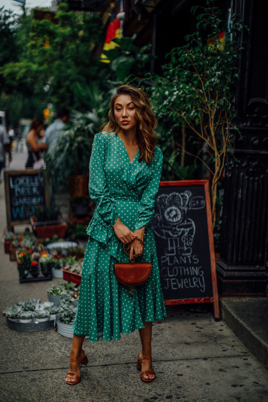 The Only 3 Wedding Guest Outfits You Need This Summer - Green Polka Dot Dress, Chloe Nile Bracelet bag, Block Heel Sandals, Summer Cocktail Dress // Notjessfashion.com