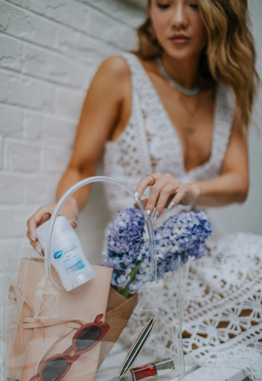 My Best Tips for Feeling Confident with Secret Invisible Shield Deodorant // White Lace Dress, Transparent Tote, Clear Handbag, Summer Style, Top NYC Blogger // Notjessfashion.com
