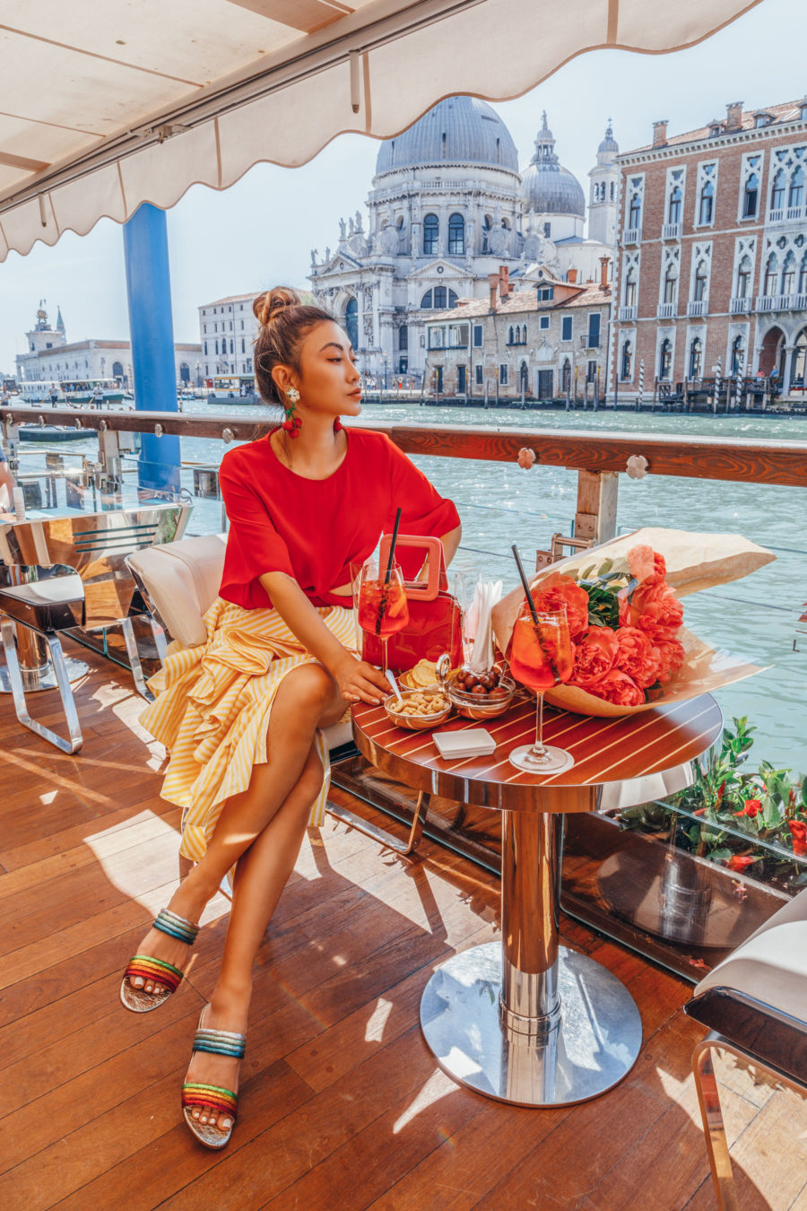 Instagram Outfits in Venice - bright summer outfit, venice canals, venice bridge, travel blogger, gondola watching in venice, rainbow mules