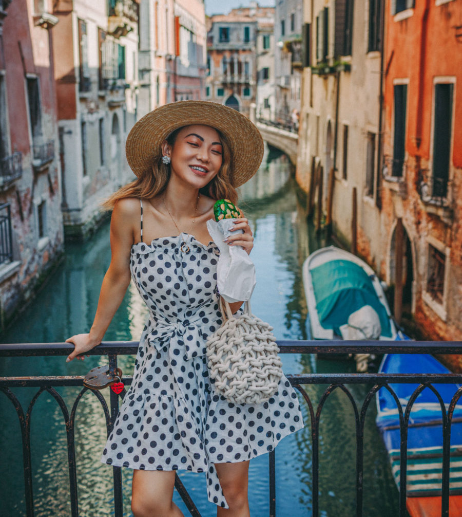 Instagram Outfits in Venice - polka dot dress, venice canals, venice bridge, travel blogger, black and white dress, summer sundress // Notjessfashion.com