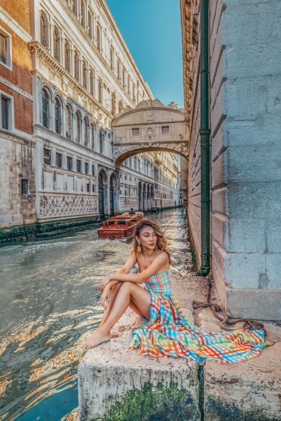 Instagram Outfits in Venice - colorful plaid dress, smocked top dress, travel blogger, venice canals, streets of venice, water taxi in venice // Notjessfashion.com