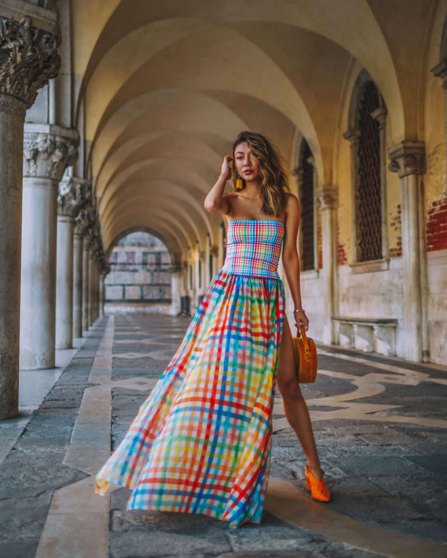Instagram Outfits in Venice - colorful plaid dress, smocked top dress // Notjessfashion.com