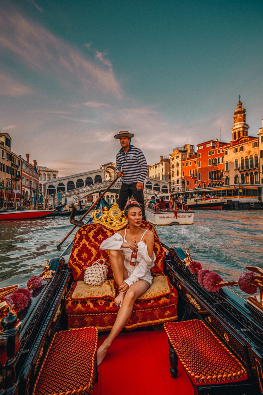 Instagram Outfits in Venice - polka dot dress, venice canals, venice bridge, travel blogger, all white summer outfit, gondola ride in venice // Notjessfashion.com