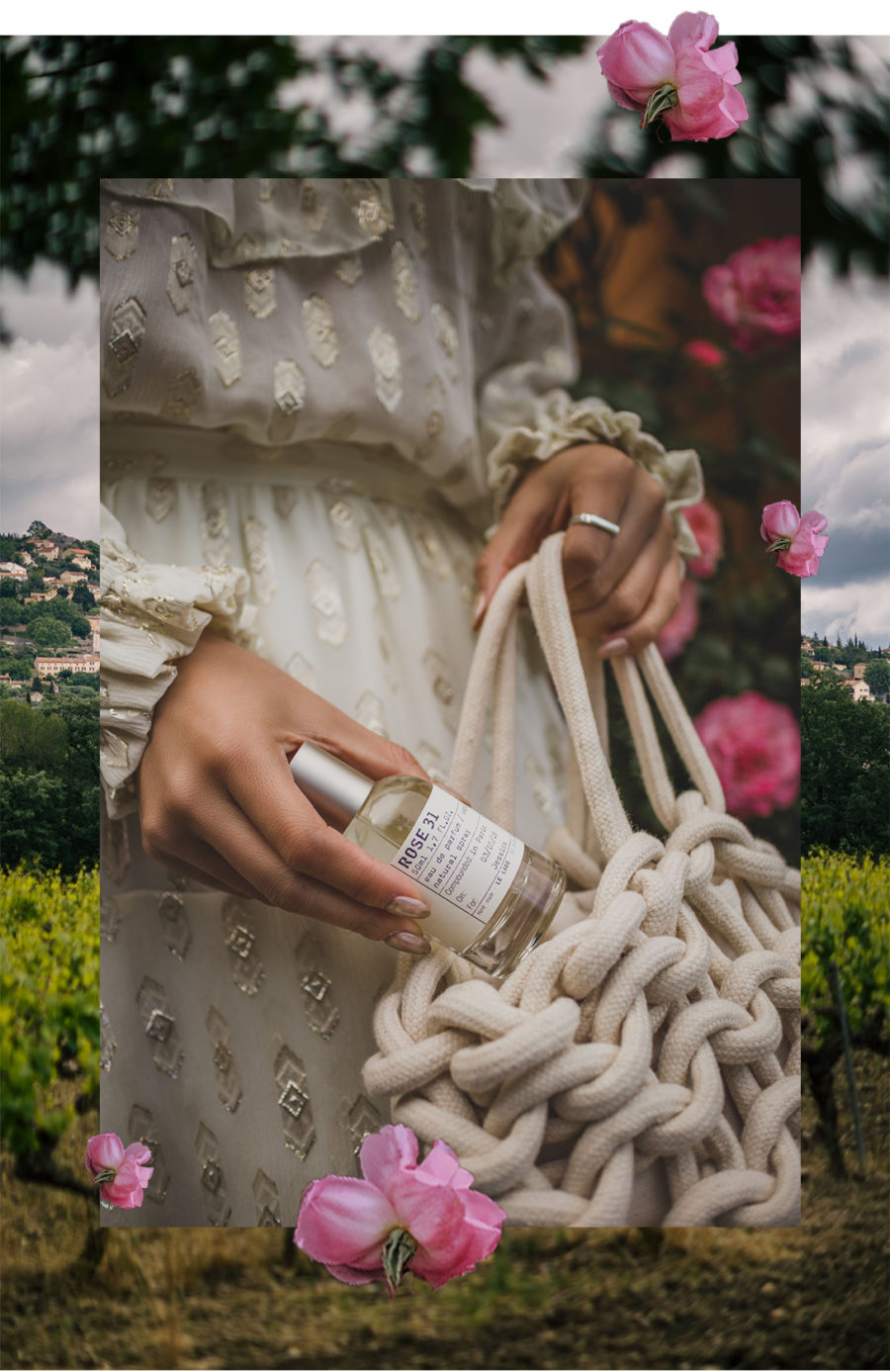 Fairmont x Le Labo Grasse Rose Harvest Experience - metallic pattern dress, Alienina woven bag, grasse rose field, le labo rose field, le labo blogger experience, le labo rose 31 perfume // Notjessfashion.com
