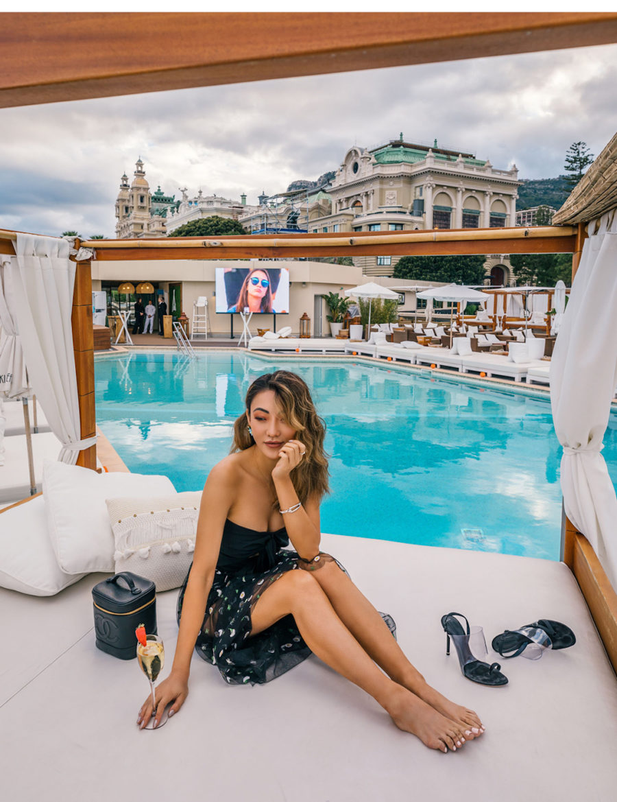 Monte Carlo with Fairmont x Le Labo - black bodysuit, sheer embroidered skirt, sheer skirt outfit, alexander wang clear heels, fairmont monte carlo, fairmont monte carlo terrace // Notjessfashion.com