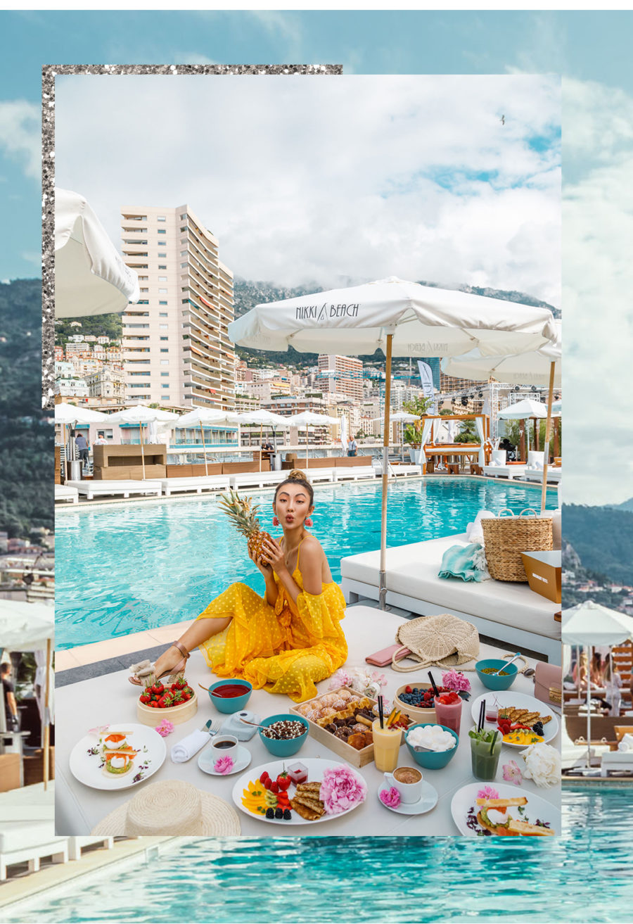 Monte Carlo with Fairmont x Le Labo - alice mccall yellow jumpsuit, lace jumpsuit outfit, straw bag 2018, fairmont monte carlo, fairmont monte carlo terrace // Notjessfashion.com