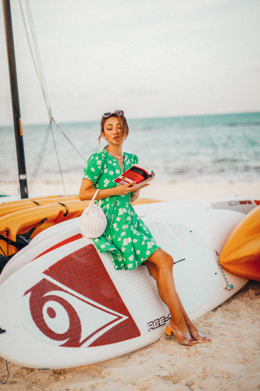 fashion blogger jessica wang wears green dress in mexico while sharing her spring reading list // Jessica Wang - Notjessfashion.com