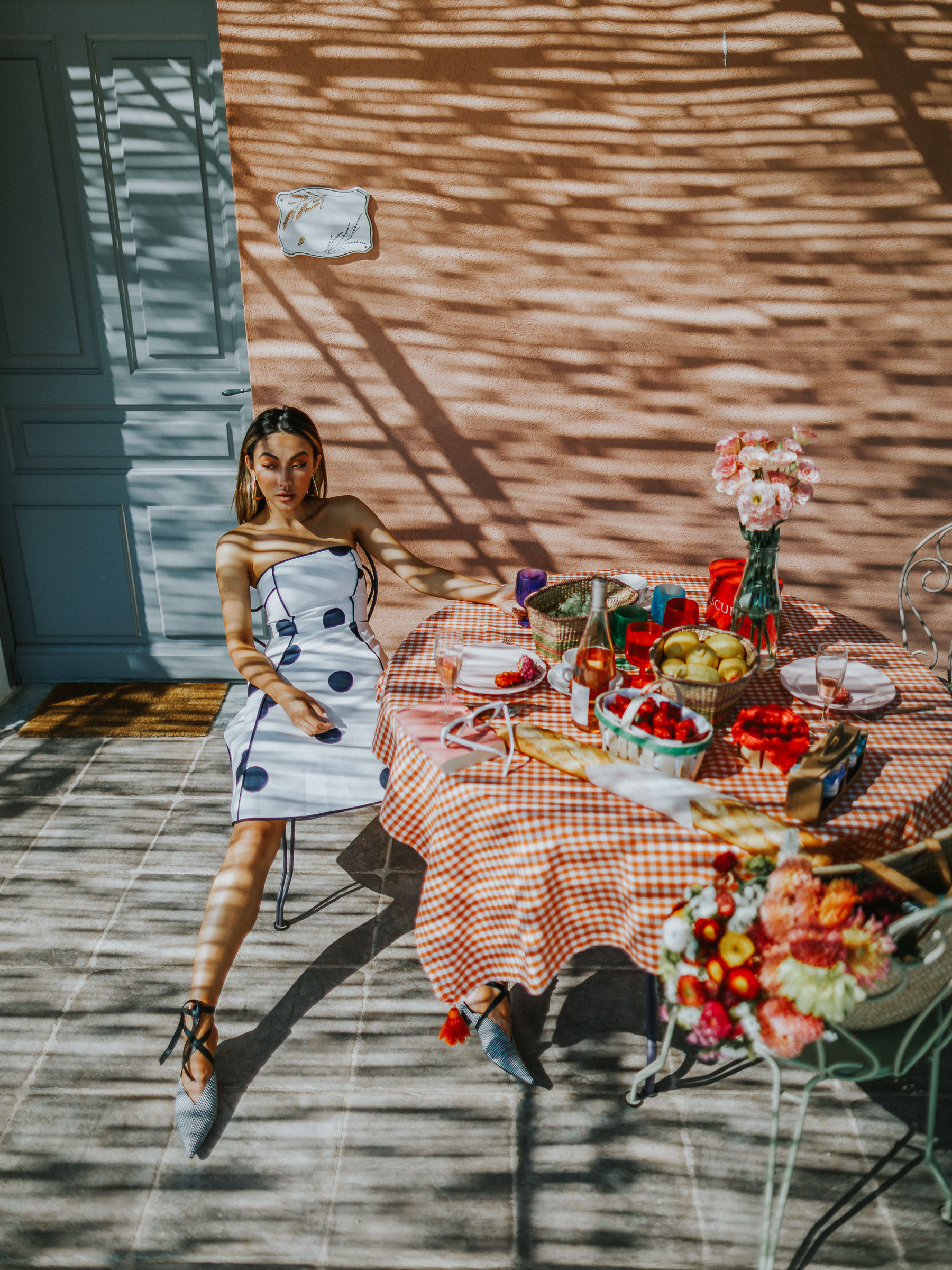 fourth of july outfit guide, kate spade white polka dot dress, fashion blogger in provence // Notjessfashion.com
