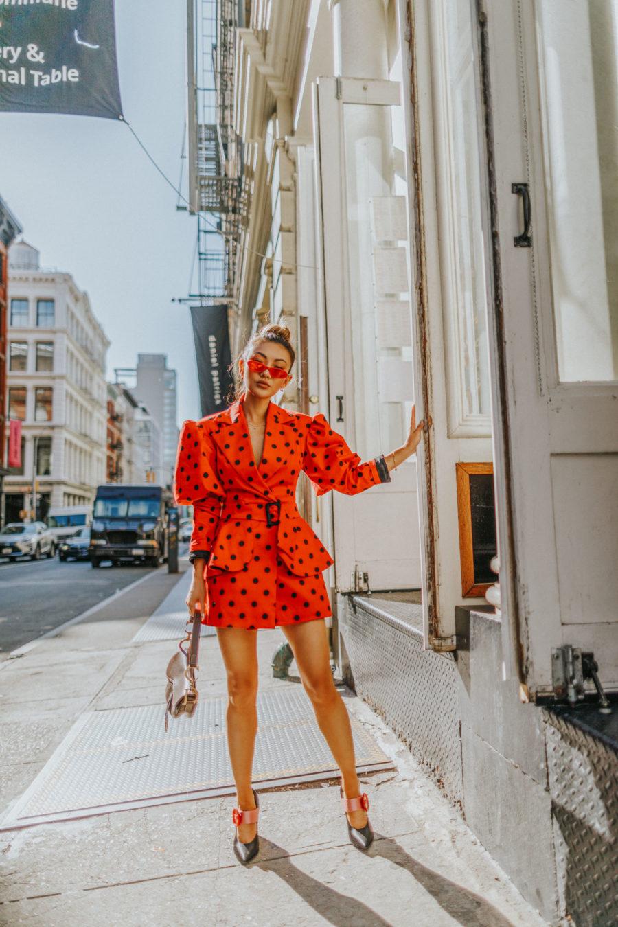jessica wang wearing a polka dot blazer and matching skirt // Jessica Wang - Notjessfashion.com