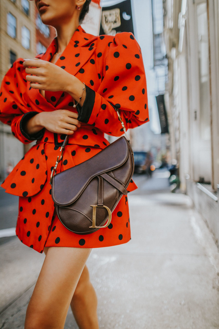 How to Manage a Full Day of Meetings in NYC - Uber's New Tools for Tricky Pickups, Red Polka Dot Dress, Dior Saddle Bag // Notjessfashion.com
