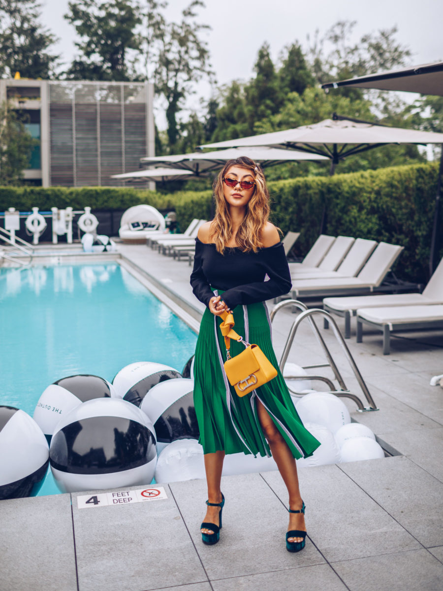 Favorite Fashion Finds from Amazon - Green Pleated Skirt, Carolina Herrera Yellow Bag, Green Velvet Heels // Notjessfashion.com