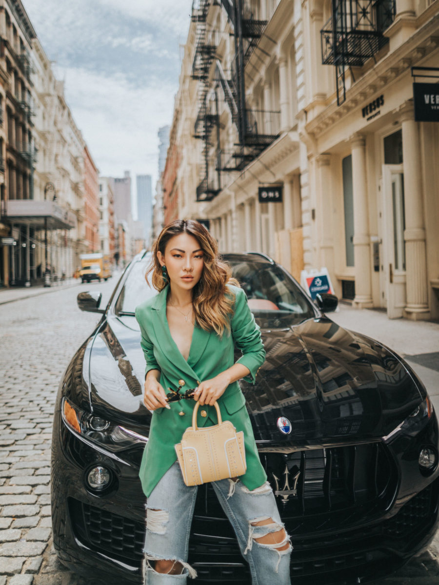 7 Ways to Look More Powerful - green blazer, power dressing // Notjessfashion.com