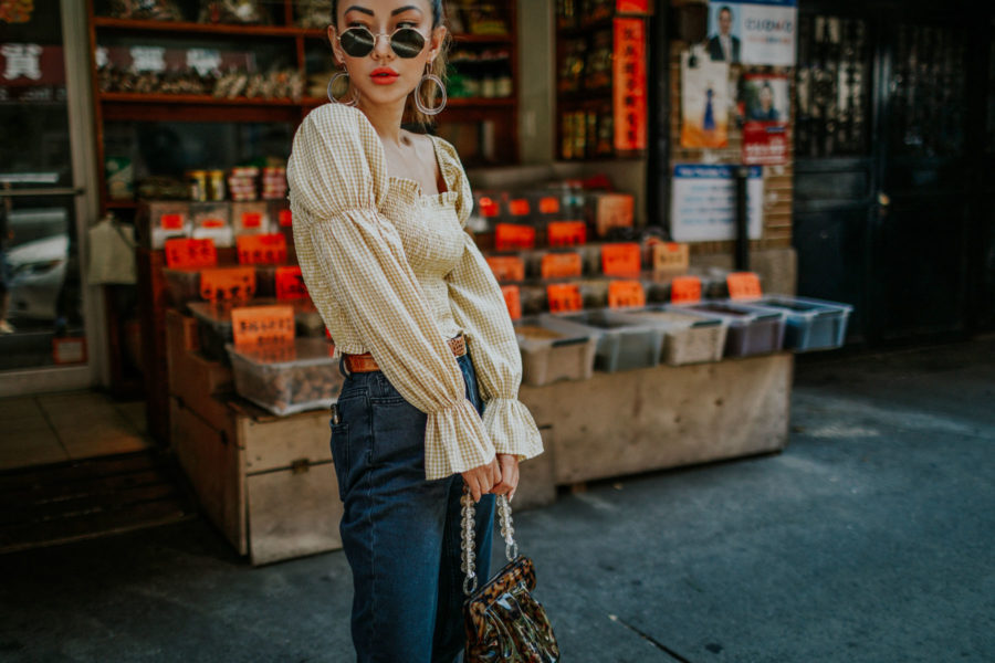 Shop your favorite fall trends with Afterpay at Urban Outfitters- BDG Mom Jeans, smocked top, western belt, hexagonal sunglasses, NYC fashion blogger // Notjessfashion.com