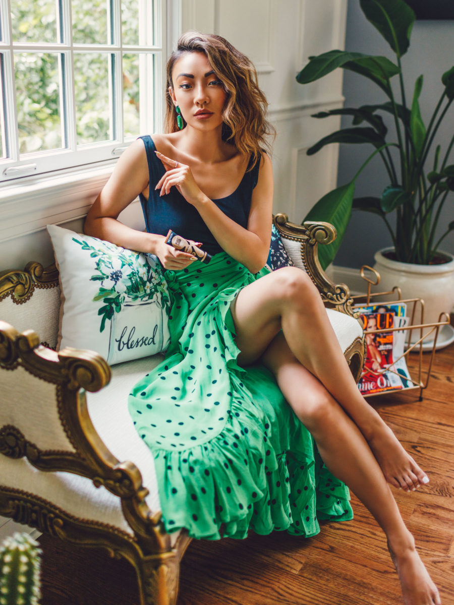 Best Beauty Launches this Fall - green polka dot skirt, ruffle skirt // Notjessfashion.com