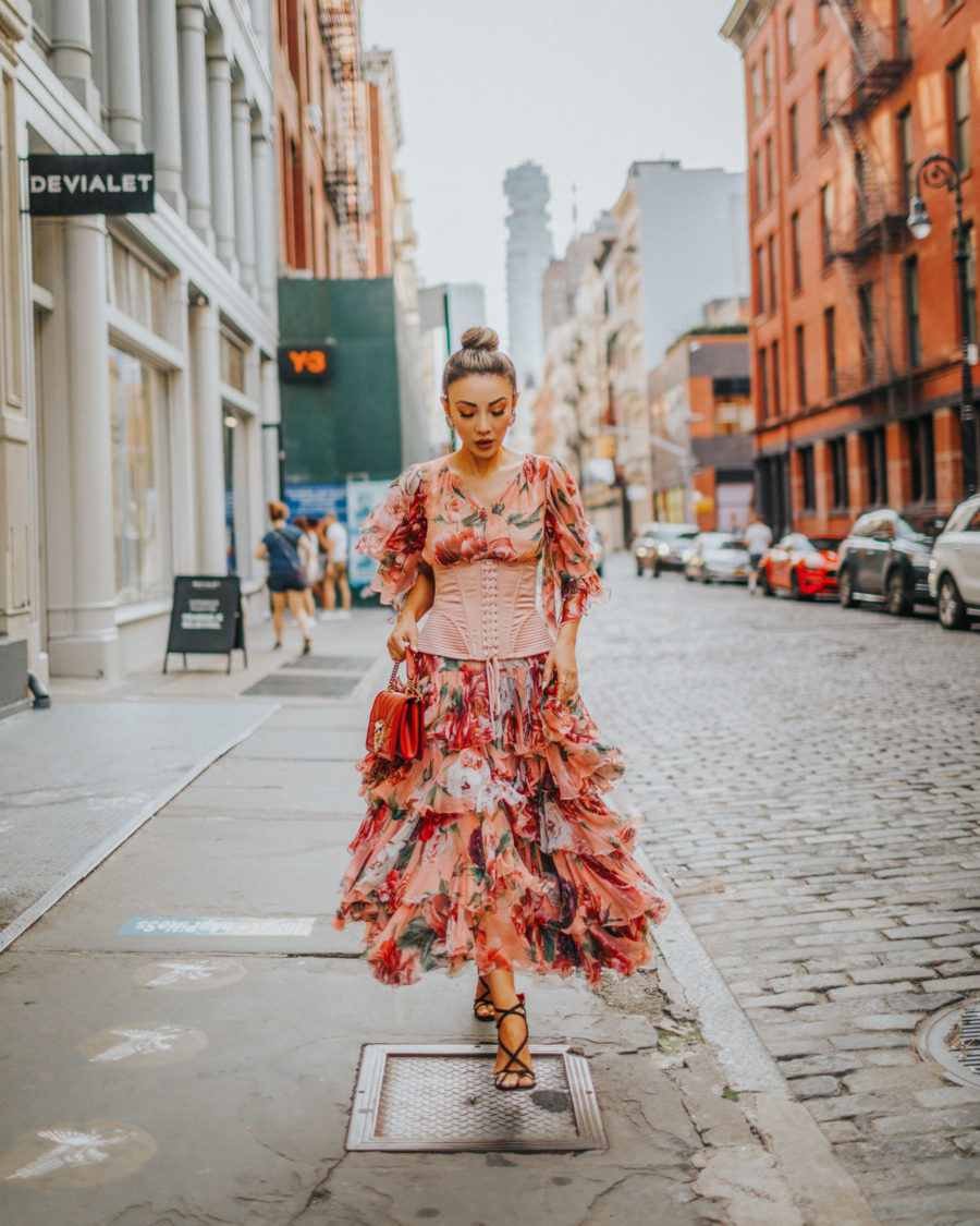 end of summer outfits - ruffle dress, corset style, couture fashion, nyc fashion blogger // Notjessfashion.com