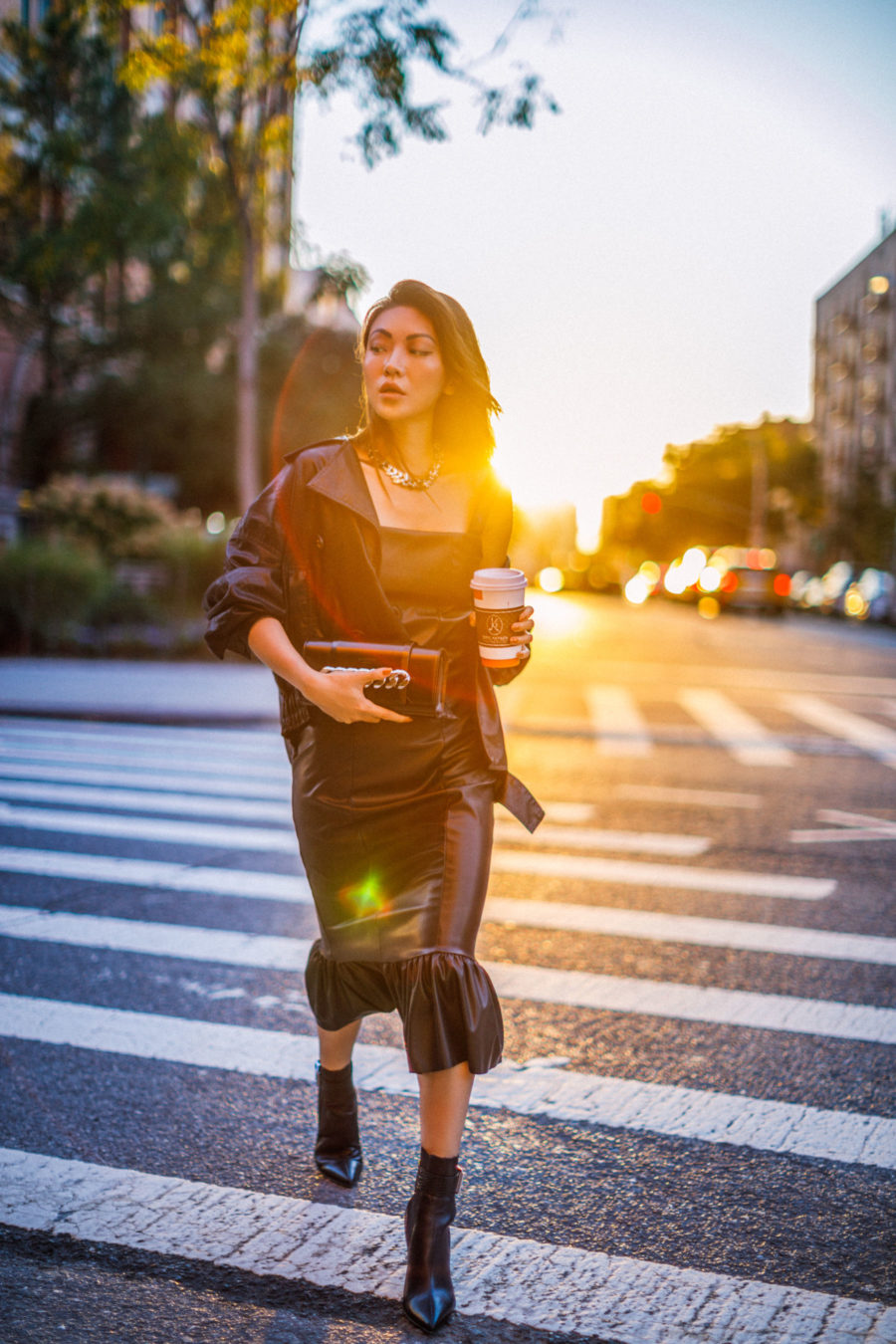 handbag trends for fall 2019, givenchy chain clutch, leather outfit, brown leather jacket, leather dress, fall 2018 outfit inspiration // Notjessfashion.com