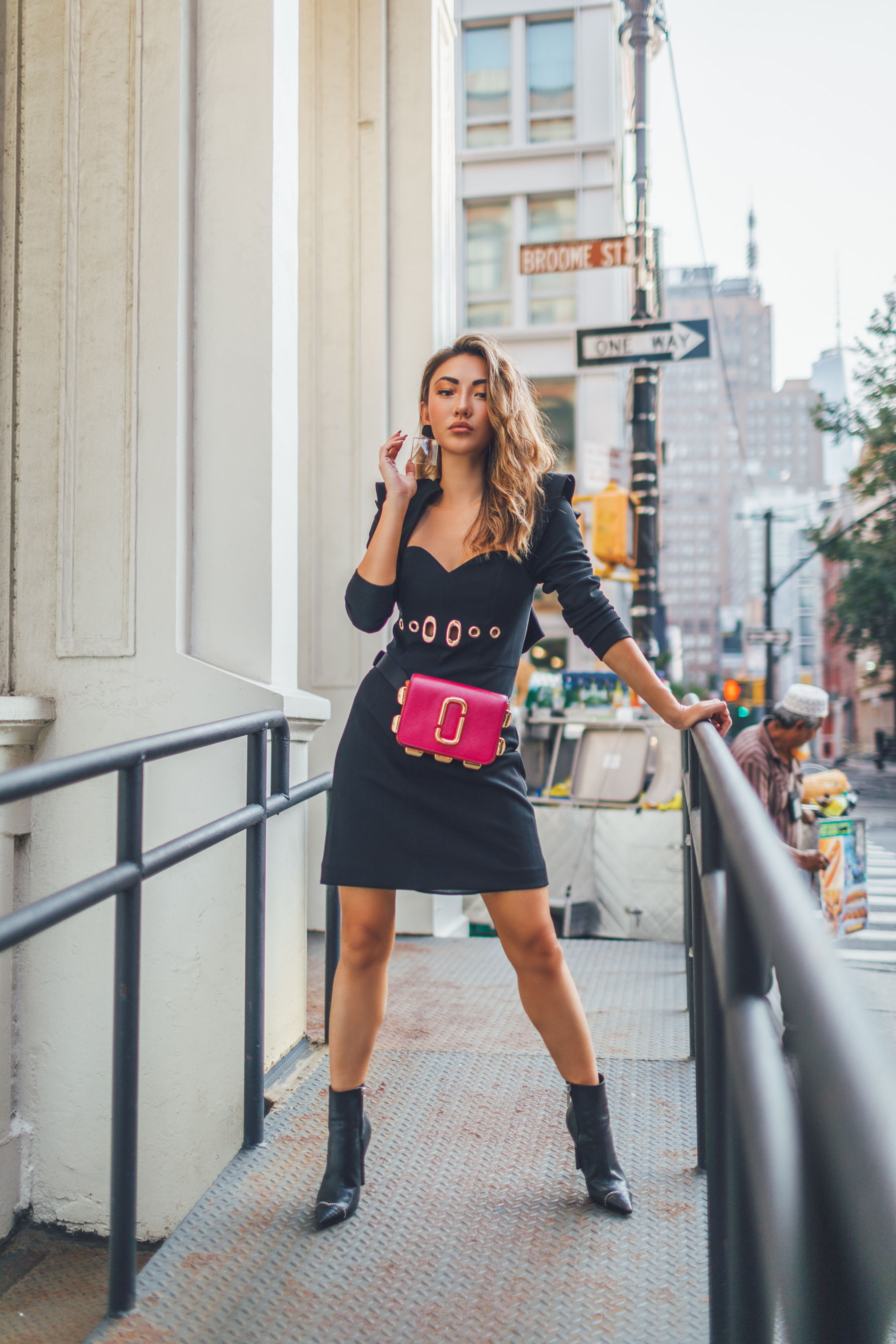wear a bra without a dress, corset style dress, Marc Jacobs Fanny Pack // Notjessfashion.com