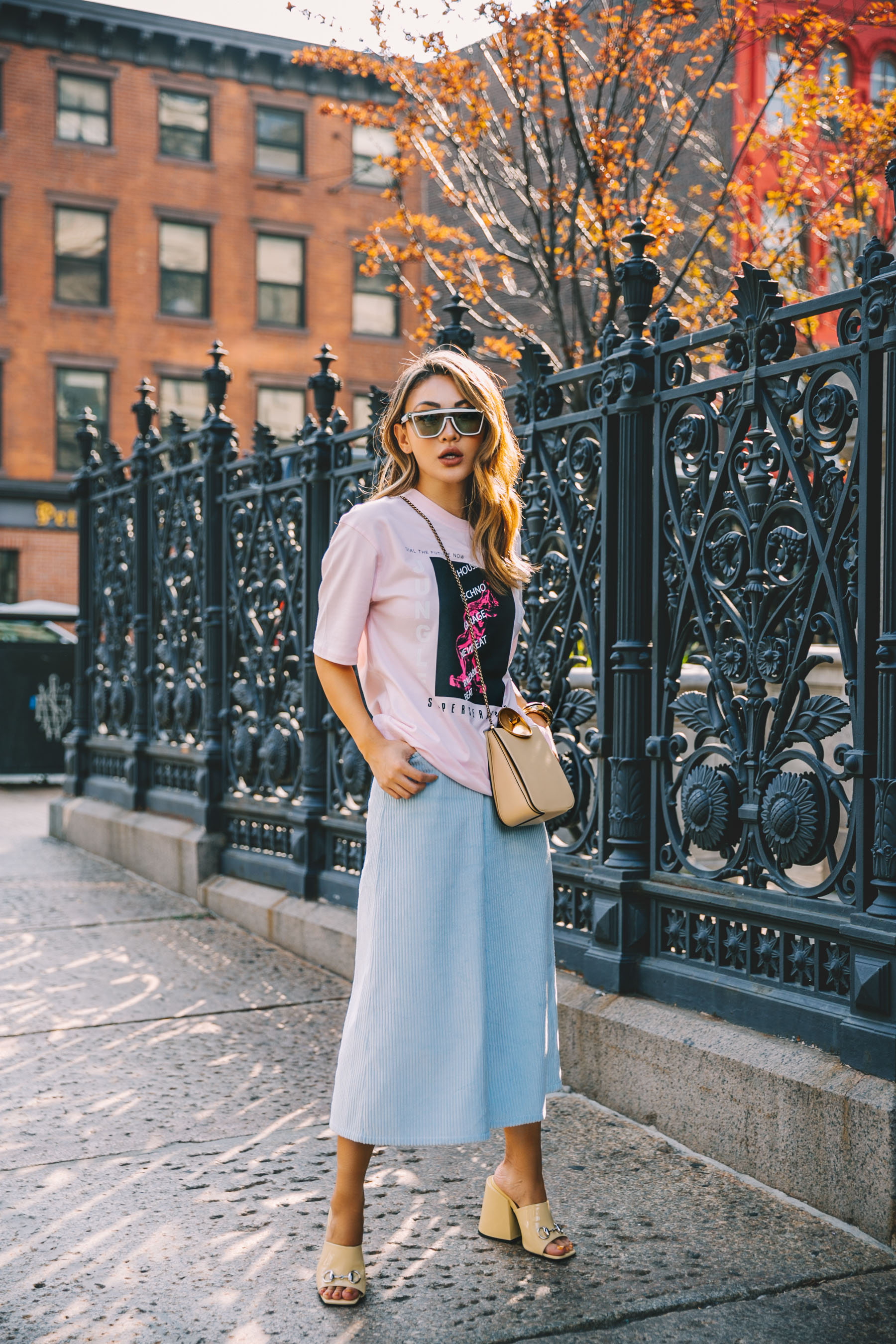 nordstrom anniversary sale 2019 favorites, basic tee outfit, Pastel Trend, NYFW Street Style, pale blue culottes // Notjessfashion.com
