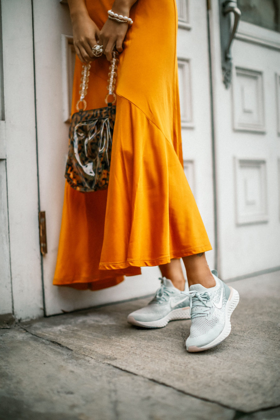 How to Wear Sneakers from Day to Night - Yellow Slip Dress sneakers, Nike Epic React Sneakers, fashion sneakers // Notjessfashion.com