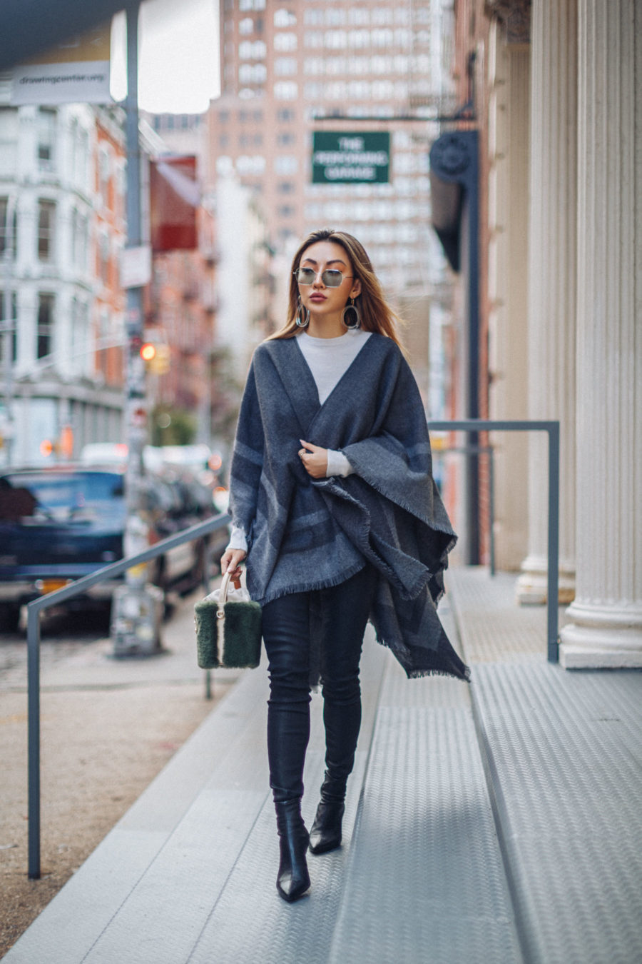 fashion blogger jessica wang wears poncho outfit while sharing postpartum style tips // Jessica Wang - Notjessfashion.com