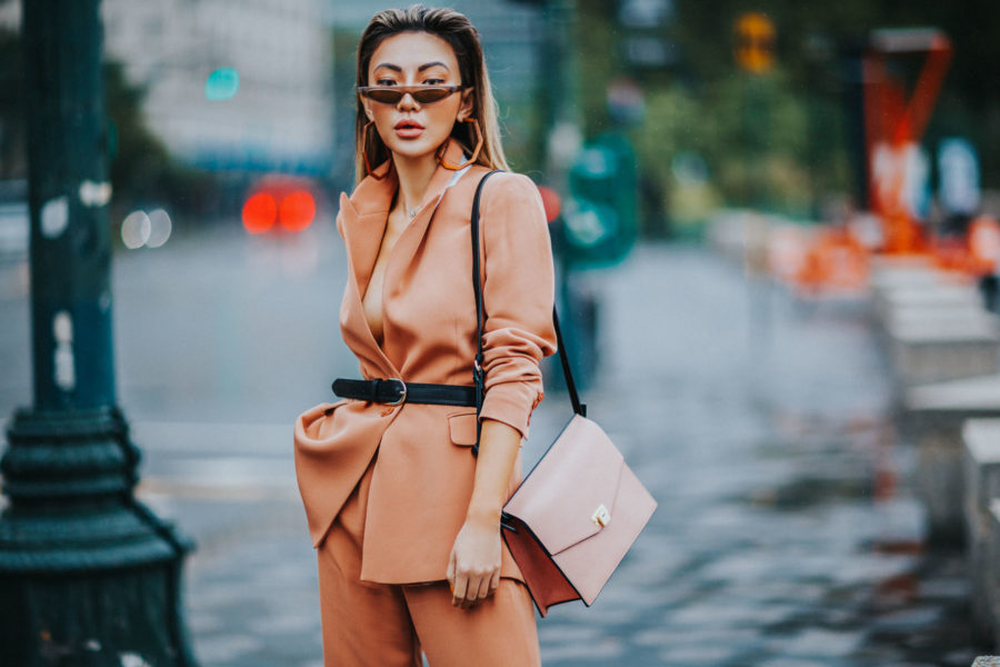 How to Style Pantsuits - Reiss Pant Suit, Belted Blazer, Tan suit, suits for women, cat eye sunglasses // Notjessfashion.com