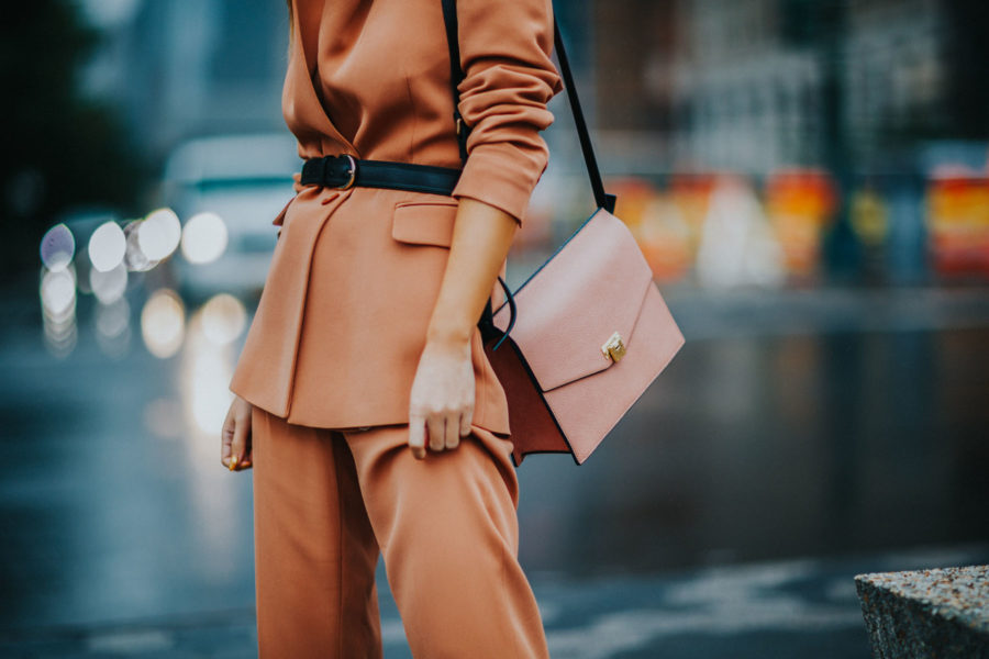 How to Style Pantsuits - Reiss Pant Suit, Belted Blazer, Tan suit, suits for women // Notjessfashion.com